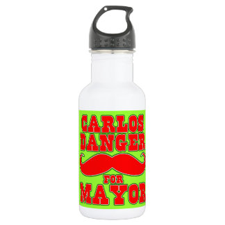 Carlos Danger for Mayor with Mustache Water Bottle