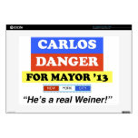 """Carlos Danger For NYC Mayor He's A Real Weiner 15"""" Laptop Decals"""