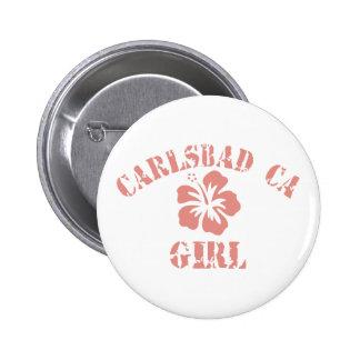 Carlsbad CA Pink Girl Pinback Button