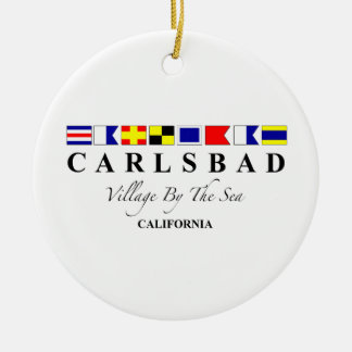 Carlsbad CA - Village By The Sea Double-Sided Ceramic Round Christmas Ornament
