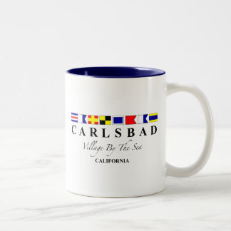 Carlsbad CA - Village By The Sea Two-Tone Coffee Mug