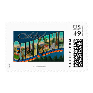 Carlsbad, California - Large Letter Scenes Stamp
