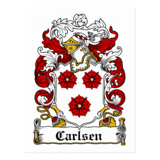 Carlsen Family Crest Postcard