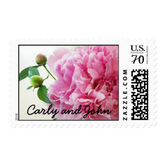 Carly and John Save The Date Stamp in Peony