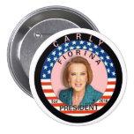 Carly Fiorina para el presidente 2016 Pin Redondo 7 Cm