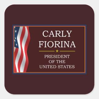 Carly Fiorina para presidente V3 Pegatina Cuadrada