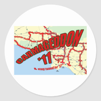 CARMAGEDDON 405 Gridlock in Los Angeles Get it now Classic Round Sticker