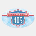 Carmageddon 405 pegatinas del óvalo de Los Ángeles Colcomanias Óval
