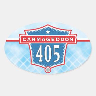 Carmageddon 405 pegatinas del óvalo de Los Ángeles Pegatina Ovalada