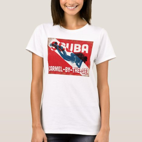 Carmel-by-the-Sea Scuba Diver - Blue Retro T-Shirt
