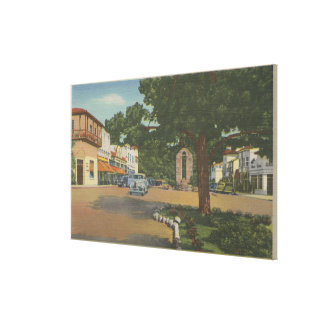 Carmel, CA - Business District View of Downtown Gallery Wrapped Canvas