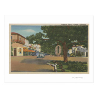 Carmel, CA - Business District View of Downtown Postcard