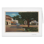 Carmel, CA - Street Scene with Trees and Shops Card