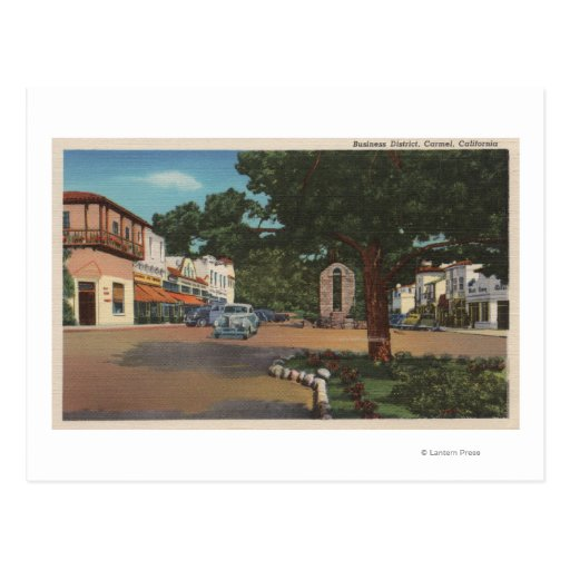Carmel, CA - Street Scene with Trees and Shops Post Card