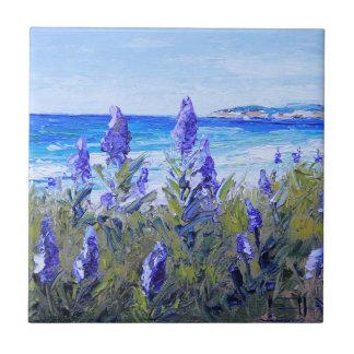 Carmel California, Beach, Lupins, Landscape Art Ceramic Tile