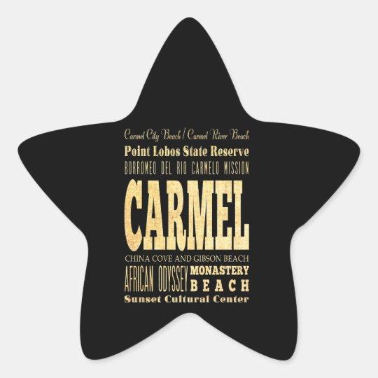 Carmel City of California Typography Art Star Sticker