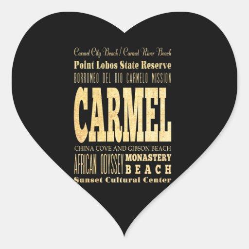 Carmel City of California Typography Art Heart Sticker