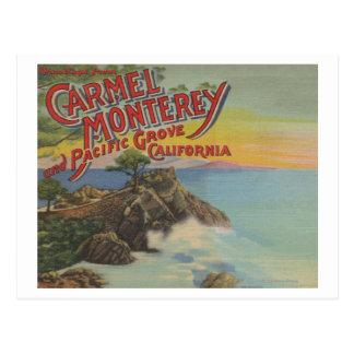 Carmel, Monterey, y arboleda pacífica, CA - Postal