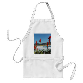 Carmel Point beach with Torch Aloe flowers Adult Apron