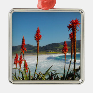 Carmel Point beach with Torch Aloe flowers Metal Ornament