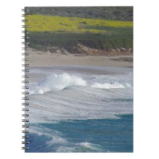 Carmel Point beach with wild flower field Notebook