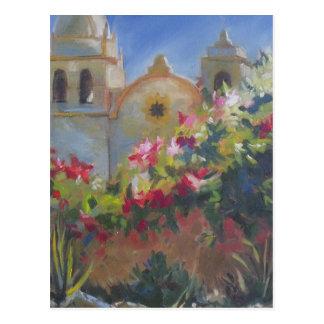 Carmel Spanish Mission California Garden Postcard