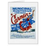 Carmen Long Beach WPA 1938 Tarjeta De Felicitación