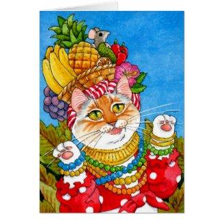 Carmen Miranda cat birthday greeting card
