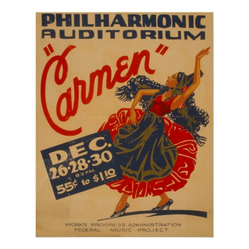 Carmen Opera Vintage Theatre WPA Poster