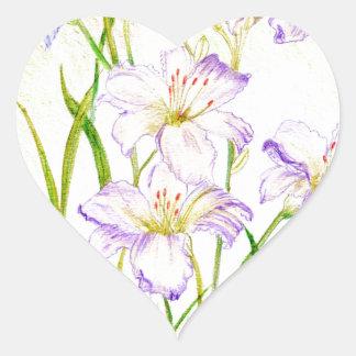 Carmen Renee Day Lilies Heart Sticker