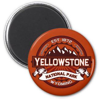 Carmesí del logotipo de Yellowstone Imán Redondo 5 Cm