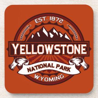 Carmesí del logotipo de Yellowstone Posavasos De Bebidas