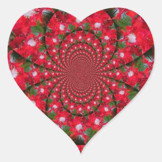 Carmesí extranjero precioso pegatina en forma de corazón