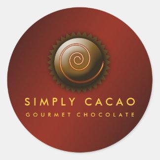 carmesí gastrónomo del chocolate 311-Upscale Pegatina Redonda
