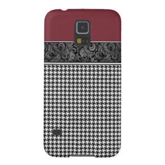 Carmesí y Houndstooth Carcasa Para Galaxy S5