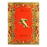 Carmine and Gold Cupid Personalized Invitation