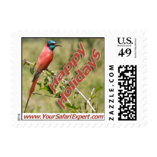 Carmine Bee-Eater (Bird) Postage Stamp (SMALL)