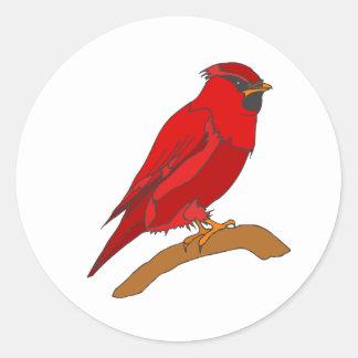 Carmine Cardinal Classic Round Sticker