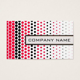 Carmine Red and Black Polka Dot Professional Business Card