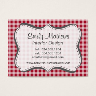 Carmine Red Gingham; Checkered Business Card