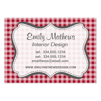 Carmine Red Gingham; Checkered Business Card Templates