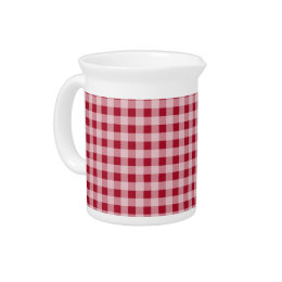 Carmine Red Gingham; Checkered Drink Pitcher