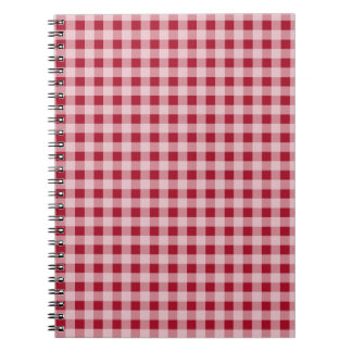 Carmine Red Gingham; Checkered Spiral Notebook
