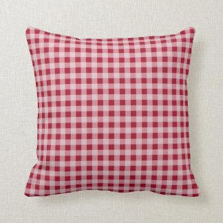 Carmine Red Gingham; Checkered Throw Pillows