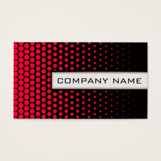 Carmine Red Polka Dot Elegant Modern Black Business Card