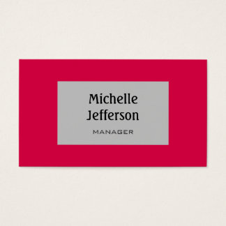 Carmine Red Silver Gray Trendy Business Card