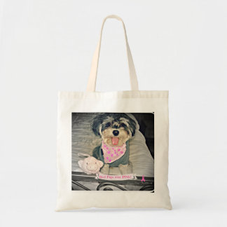"""Carmine Winston III--""""Real Pups Wear PINK!"""" tote Budget Tote Bag"""