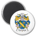 Carmona Family Crest 2 Inch Round Magnet