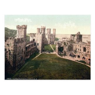 Carnarvon castle interior, vintage Wales c1910 Postcard
