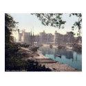Carnarvon medieval castle, vintage Wales postcard